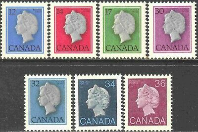 1977-87 Canada Mint Never Hinged Set of 7 Queen Elizabeth II Cameo Definitives