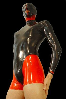 Latex Anzug Rubber Maske Suit uniform Catsuit Gummi Ganzanzug Latexanzug Party