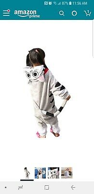 Kids Cat Costume 1Onesie One Piece Jumpsuit Pajamas Dress Up Cosplay Size 6-8