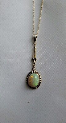 Antique Art Deco to early Vintage 10K Yellow Gold Australian Opal Pendant