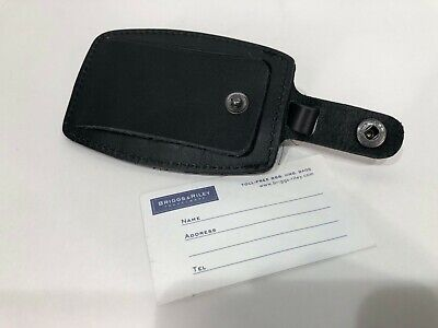 GENUINE - BRIGGS & RILEY Black Leather LUGGAGE Bag TAG Name Travel Carry On