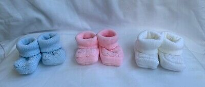 baby booties bootee shoes cable knitted boy girl blue pink white newborn