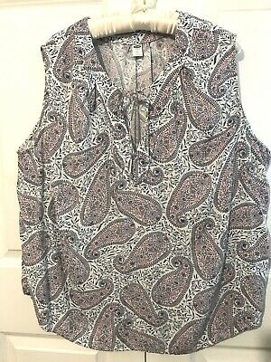 Old Navy Sleeveless Womens Paisley Red Wine Blue Shirt Top Plus size XXL EXC
