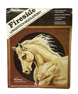 Vintage Fireside Longstitch Needlepoint Kit Mustang Horse Equestrian Art Smith