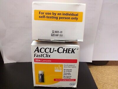 2 Boxes Accu-Chek Fastclix 408 Lancets Blood Glucose Monitor Expry January 2022
