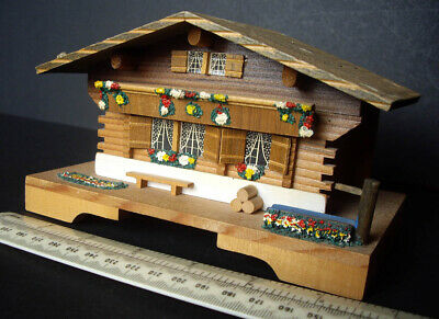 1980s Cuendet Switzerland Clockwork Musical Movement Swiss Chalet Souvenir
