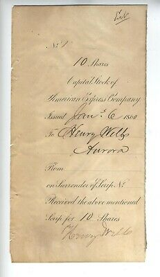 Henry Wells Fargo Autograph Signed American Express Document 1860 Stock W/ Coa