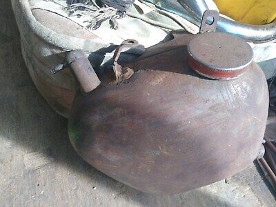 """vintage 1962 Triumph Duplex """"froth tower"""" oil tank with added brackets"""