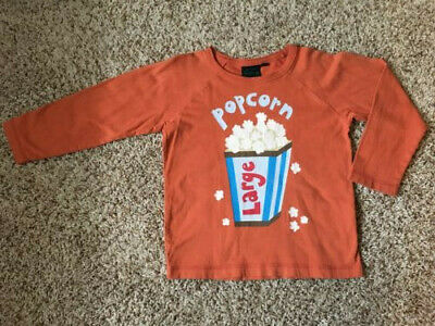 Boys Orange Mini Boden Long Sleeve Shirt Popcorn 3T 4T GUC