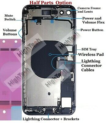 Iphone 8 8 Plus OEM Back Housing Frame Rear Full Cover Small Parts Battery Door