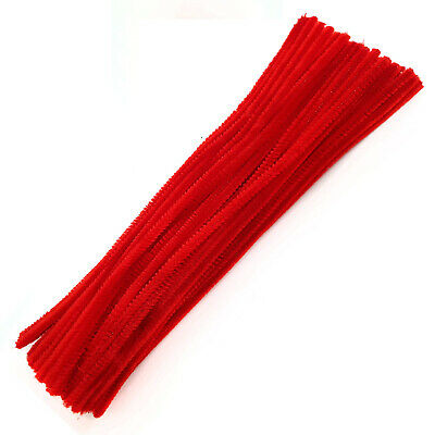 Red Pipe Cleaners  Craft Chenille Stems 30cm Pack of 5 20 50 100 UK Stockist