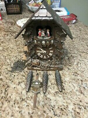 Vintage Horses Hauling Wood Musical German Cuckoo Clock Regula Black Forest