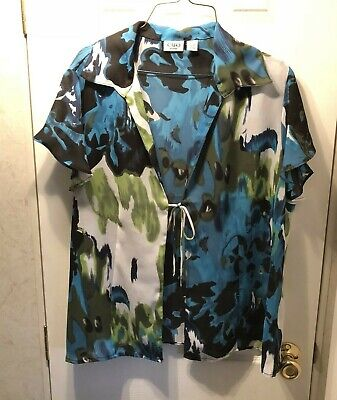 Cato Womens Plus Size 18/20W Multi-Color Sheer Open Front Tie Shirt Top Boho