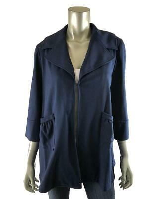 More of Me Maternity S Jacket Navy Blue Stretch Coat Hook Eye Womens Small