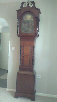 ANTIQUE BRASS FACE GRANDFATHER LONGCASE CLOCK Axminster.Mahogany and Oak Case.