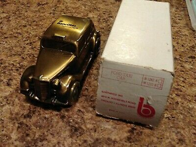 Vintage Bronzed Cast Metal Ford 1935 Taxi Car Bank Banthrico Inc. 6""