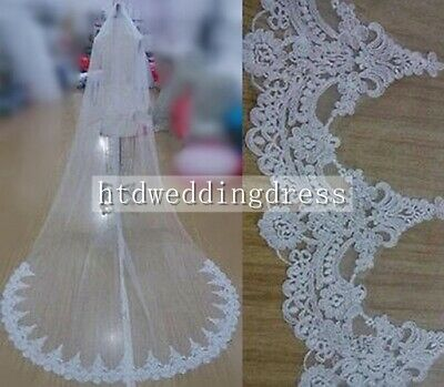 Ivory White 1 Tier Lace Edge Cathedral 3M Length Bridal Wedding Veil With Comb