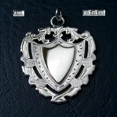 Antique Victorian solid silver fob medal / pendant. Scottish Thistle design 1894