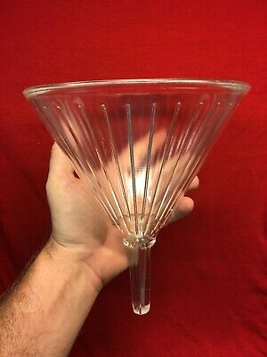 Vtg 32oz Mooney Airvent Apothecary Pharmacy Ribbed Heavy Glass Funnel Large Exc!