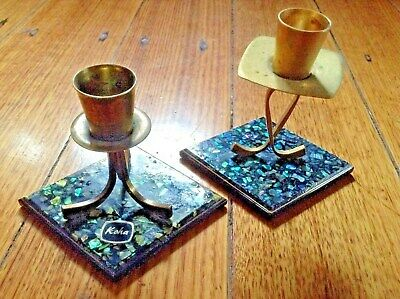 Vintage Mid Century Paua Shell & Metal Candle Holders. Retro 1960 Art Deco Style
