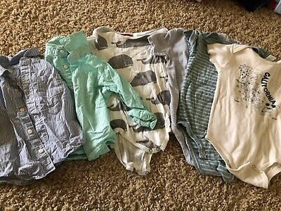 Lot of 6 - Milkbarn, Carters and California 12-18 months boys one pieces & shirt