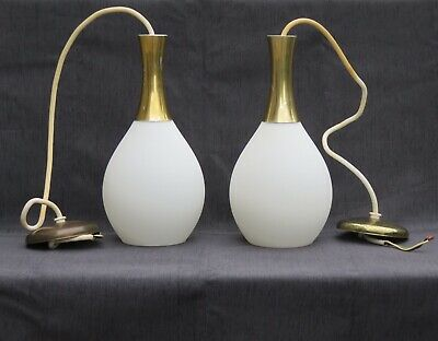 Two Mid Century Danish Modern Tear Drop Ceiling Pendant Lights Virden
