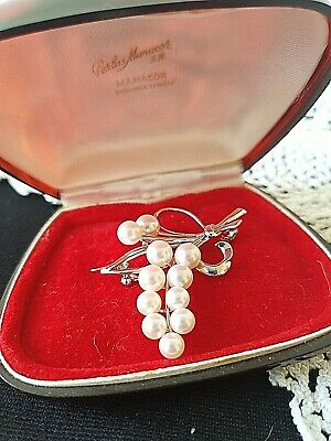 MIKIMOTO Vintage 14K White Gold Vermeil Fine Silver Akoya Pearl Brooch~Signed MS