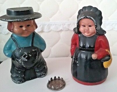Vintage Amish  metal Banks Man & Woman - paint loss PA Dutch