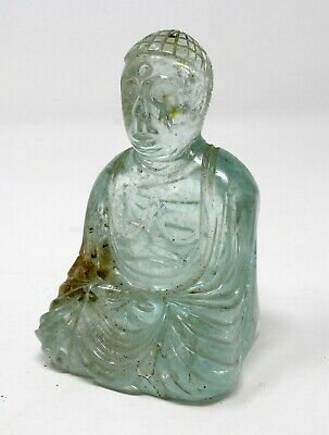 Antique old hand carved natural rock crystal Buddha