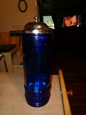 Cobalt Blue Glass Soda Straw Dispenser Holder Diamond Pattern Retro Design