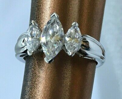 14k Solid White Gold 3 Stone Engagement Ring size 8