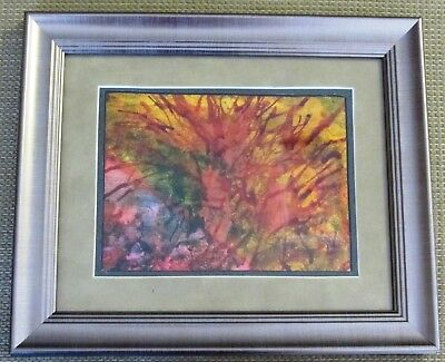 "Alcohol Ink Original Handmade Painting ""CORAL"" Fine Art Framed Abstract 8x10"""