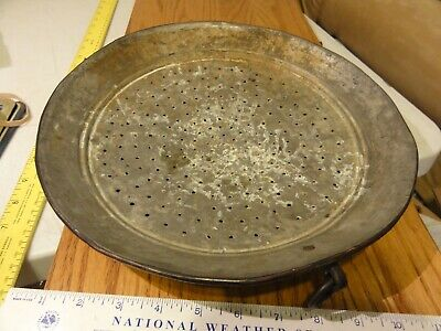 Antique Vintage Hand Made Copper Colander Strainer, 12 inches, with Hanging ring
