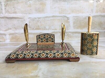 Original Vintage Imported Persian ~ Crafted Farsi Wooden Inlaid Pen Holder Set