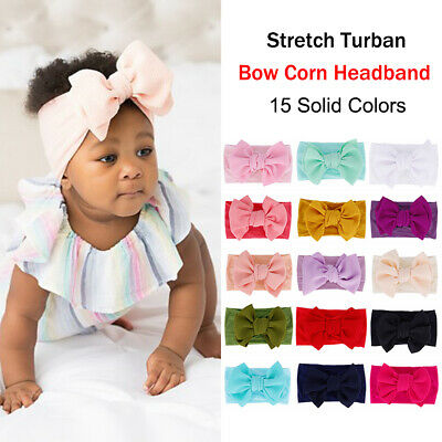 Toddler Baby Soft Corn Hair Band Kids Solid Color Bowknot Headband Headwear