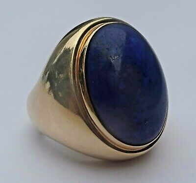 Vintage Antique 14K Yellow Gold Lapis Lazuli Cabochon Ring 28 Grams Signed JW