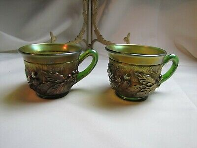2 - Antique Northwood Acorn -Burr Carnival Glass Punch Bowl Cups