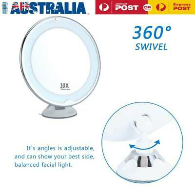 20cm 10x Magnifying Double Side Beauty Bathroom Vanity Mirror with LED Light P1