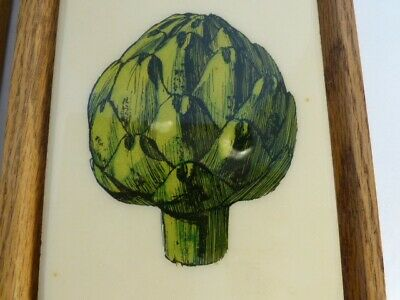 "Decorative framed Wall Tiles from Nordstroms Artichoke and Egg Plant 7 "" x 5"""