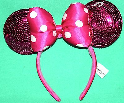 New Disney Parks Minnie Mouse Pink Sequin Ears Headband Polkadot Bow One Size