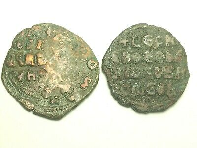 ERROR, ANCIENT AUTHENTIC BYZANTINE 1071 - 1078 AD. MICHAEL, 2 coins 1 with ERROR