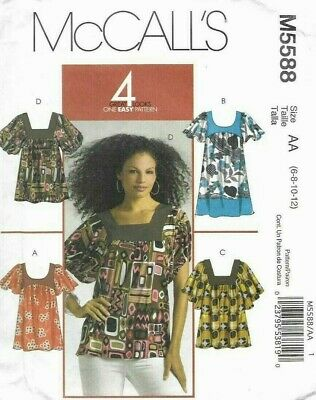 McCalls Sewing Pattern 5588, EASY Contrast Yoke Top or Tunic, Size 6-12, NEW