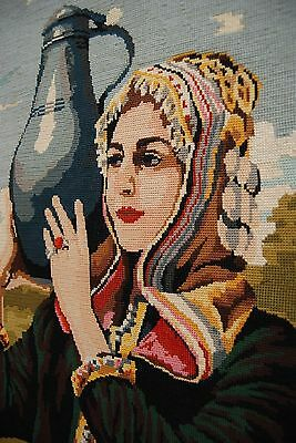 French Antique Vintage Hand Embroidery Crewel Art Needlepoint Woman Cross Stitch