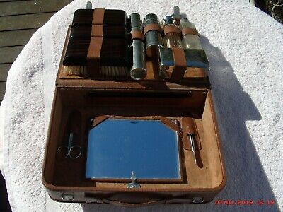 Vintage Men's  Travel/Vanity  Case, Leather, Made In Germany Good Condition