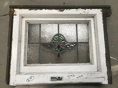 Vintage Stained Glass Window  Architectural Old - Art Deco / Antique Glass