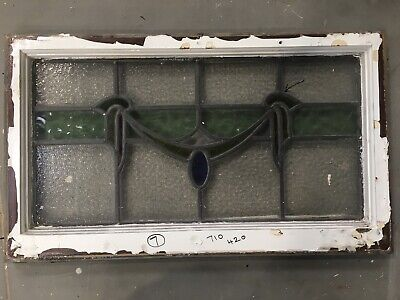 Vintage Stained Glass Window  Architectural Old Art Deco / Antique Wooden