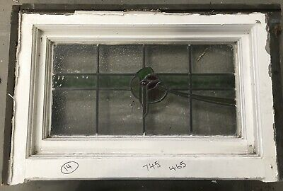 Stained Glass Window / Vintage Architectural Old - Art Deco / Antique Wood Frame