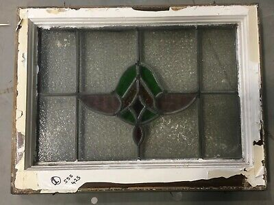 Vintage Stained Glass Window  /  Architectural Antique Old Art Deco Wooden Frame