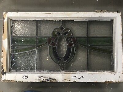 Vintage - Stained Glass Window  Architectural Old Art Deco / Antique Wooden
