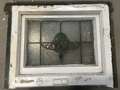 Antique Vintage - Stained Glass Window  Architectural Old - Art Deco Wood Frame
